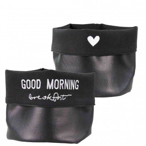 """Bastion Collections Aufbewahrung / Storage Bag Leather """"Good morning"""""""