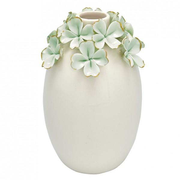 Greengate Vase Flower pale green w/gold, large