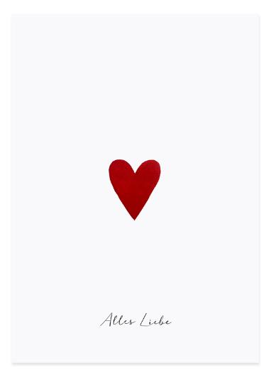 Eulenschnitt Postkarte Kleines Herz
