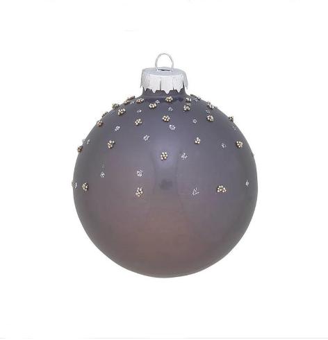 Greengate XMas Ball Glass Josephine Grey w/Glitter small