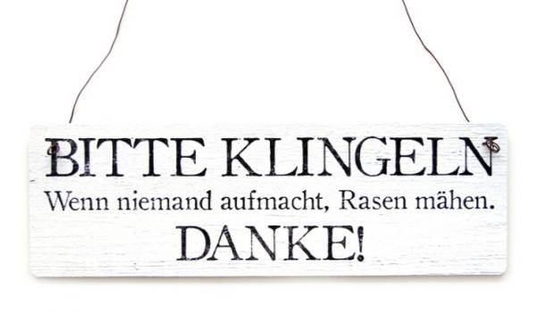 """Holzschild """"Bitte klingeln"""""""