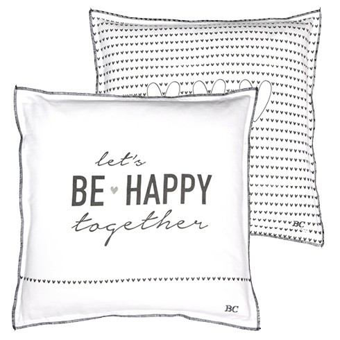 Bastion Collections Kissen White Chambray Be happy/hearts black