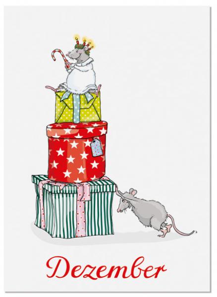 Krima & Isa Postkarte Dezember (Geschenketurm)