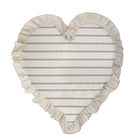 Bastion Collections Kissen Heart Natural Stripes Chambray