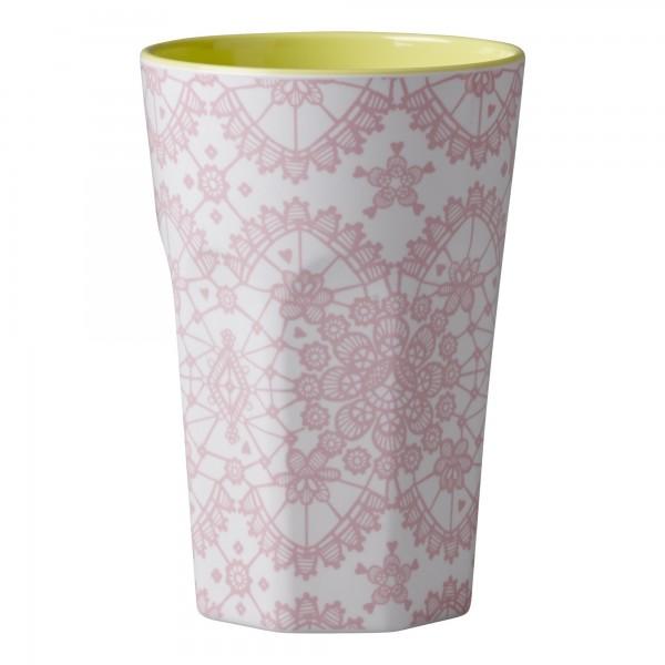 Rice Melamin Latte Becher, Lace Print, Rosé