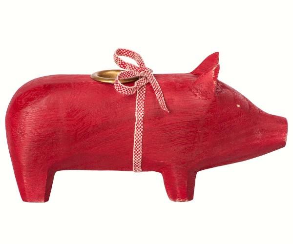 """Maileg, Schweinchen """"Wooden pig, Red, Medium"""" für Kerze"""
