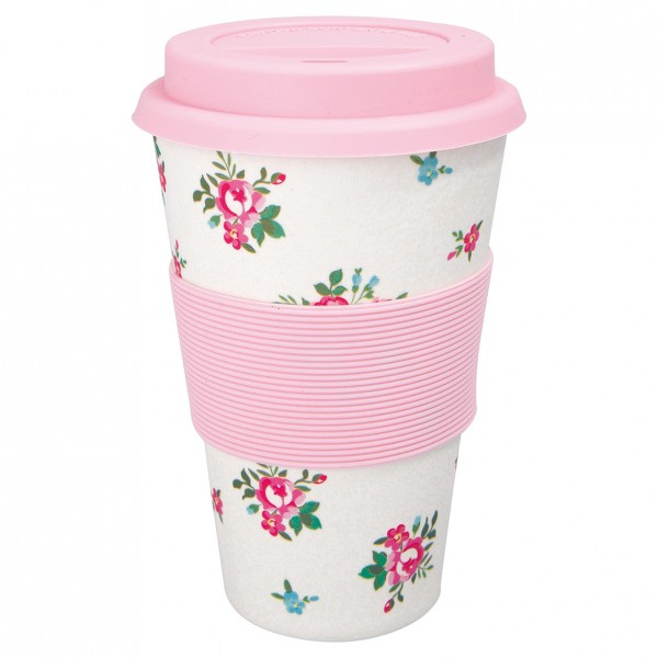 GreenGate Bambus Travel Mug Constance White