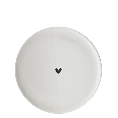 Bastion Collections Teller / Dessert Plate Heart (small) in black