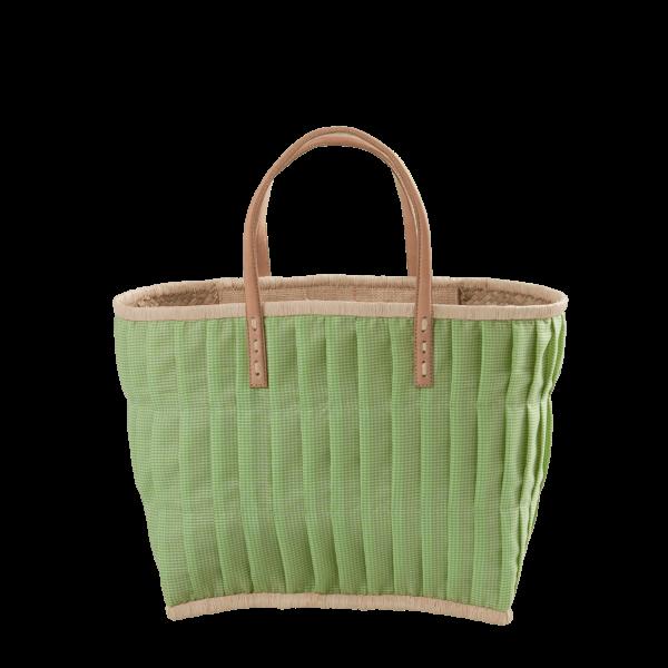 Rice Korb/Einkaufstasche, Vichy-Karo Apple Green mit Ledergriffen, medium