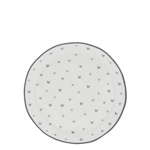 Bastion Collections Teller / Cake Plate White / Little Hearts in Grey