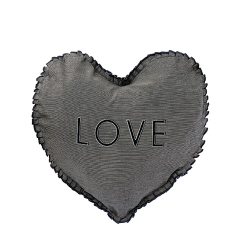 Bastion Collections Kissen Heart Black Chambray LOVE