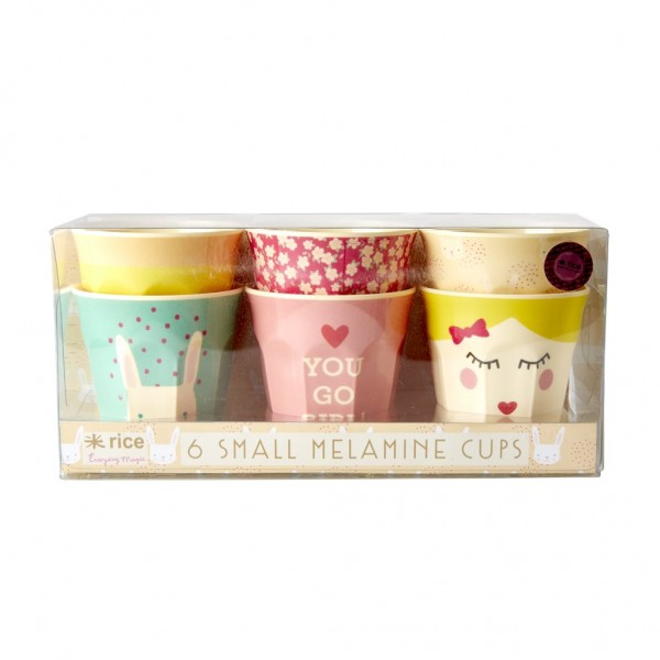 Rice Kleine Melamin Becher, Assorted Rabbit Prints, 6er Set