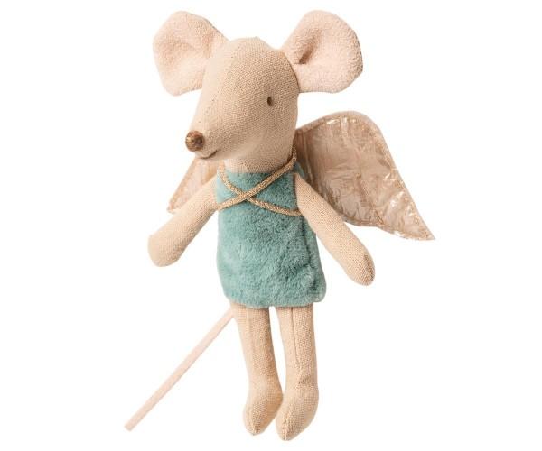 Maileg, Fairy Mouse, little sister, Blau-Grün