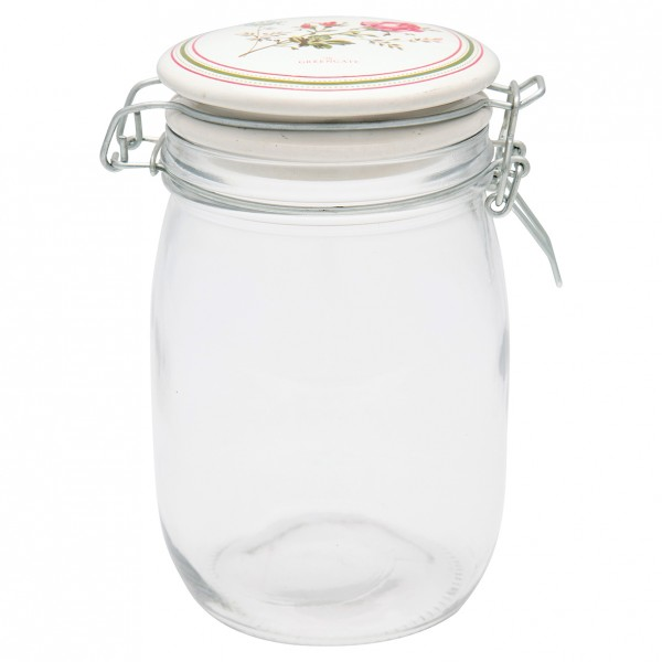 GreenGate Vorratsglas mit Keramikdeckel, Constance White, 1000 ml