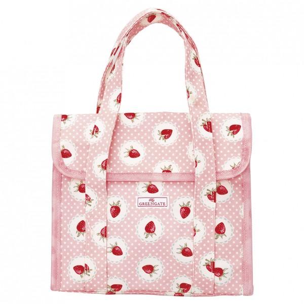GreenGate Brotzeittasche / Lunchbag Strawberry pale pink