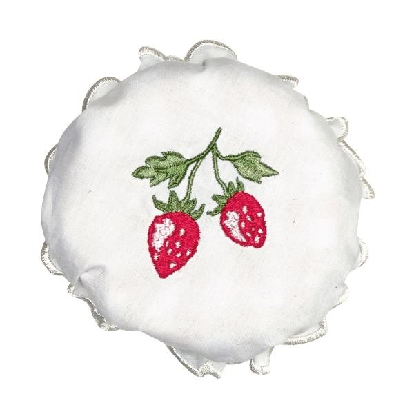 Greengate Lid Cover/Deckelbezug Strawberry White w/embroidery