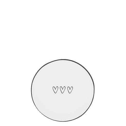 Bastion Collections Kleines Tellerchen/Teebeutelablage/Tea Tip White / 3 little Hearts in Black