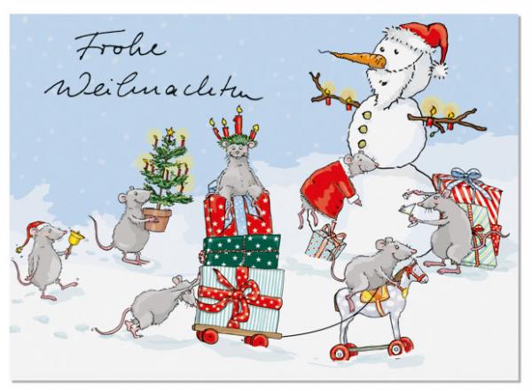 Krima & Isa Postkarte Weihnachtsmäuse