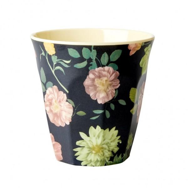 Rice Melamin Becher, Dark Rose Print