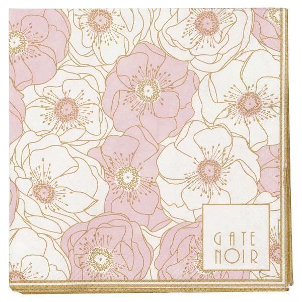Gate Noir Kleine Papierserviette Flori Pale Pink