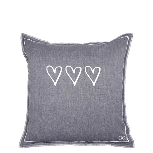 Bastion Collections Kissenhülle Black Chambray 3 Hearts White