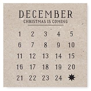 """Tafelgut, Karte """"December"""", quadratisch"""