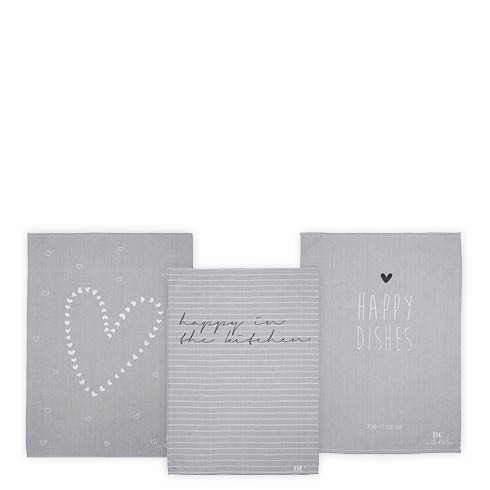 Bastion Collections Geschirrtuch Grau Heart/Stripes/Happy Dishes