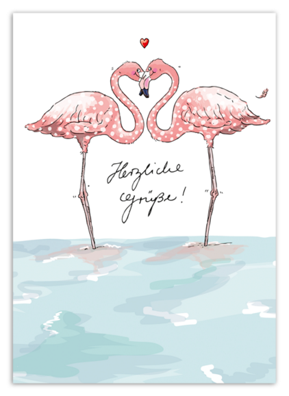 Krima & Isa Postkarte Flamingo