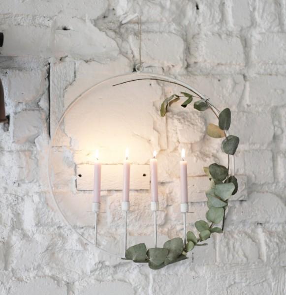Kerzenring für 4 Tannenbaumkerzen, weiß