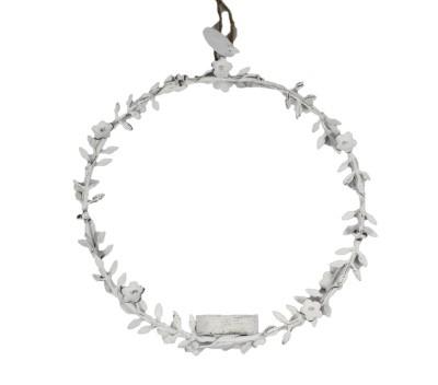 Metallring/-kreis mit Teelichthalter Blüten in weiß, groß