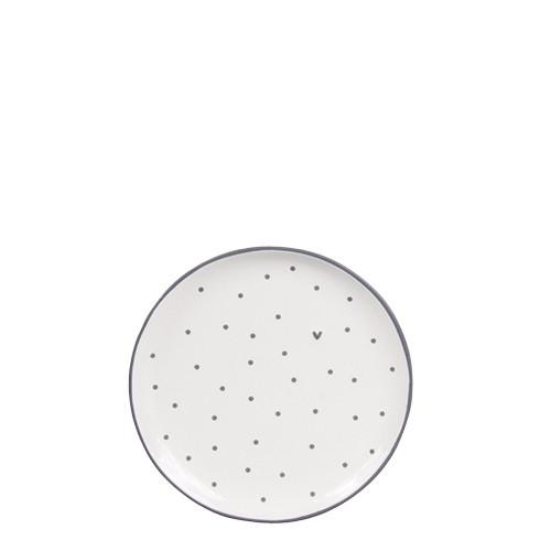 Bastion Collections Kleines Tellerchen/Teebeutelablage/Tea Tip White / Dots & Heart in Grey