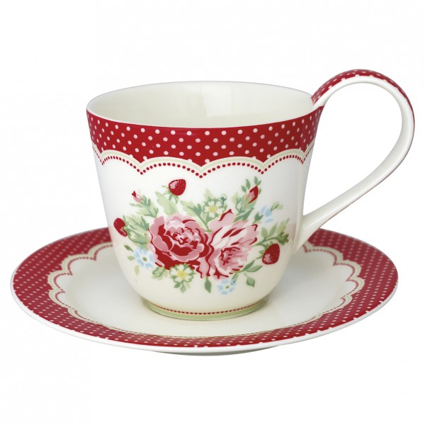 GreenGate Henkel-Tasse mit Unterteller Mary White