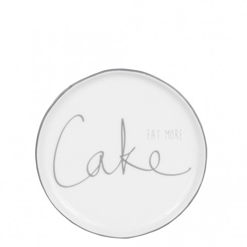 Bastion Collections Teller / Cake Plate 16cm White/eat more cake in grey