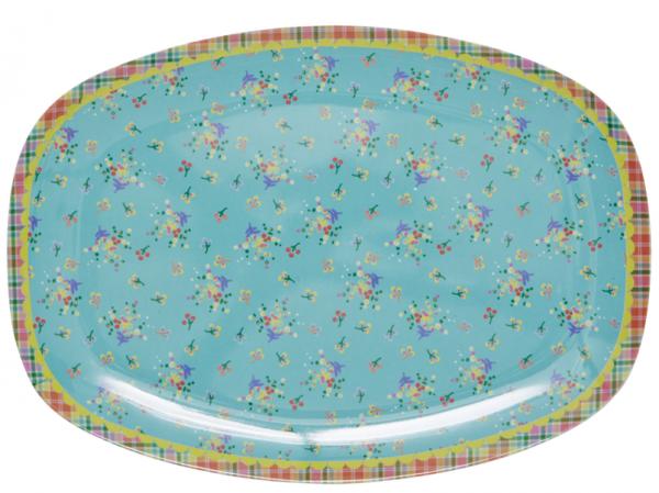 Rice Melamin Teller/Platte, Aqua Flower Print