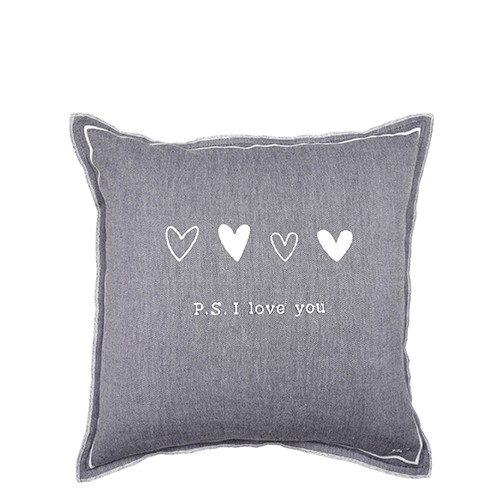Bastion Collections Kissenhülle Black Chambray PS I love you