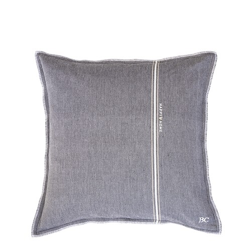 Bastion Collections Kissenhülle Black Chambray Happy Home