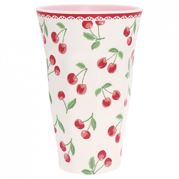 Greengate Melamin Tall Cup Cherry White