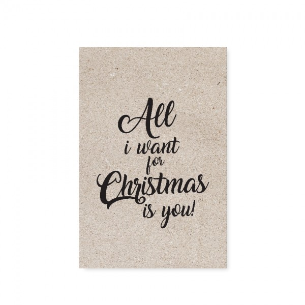 "Tafelgut, Karte ""All I want for Christmas"""