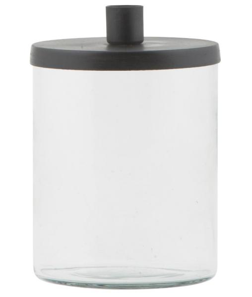 Ib Laursen, Kerzenhalter mit Glas/Deckel für Stabkerze, schwarz