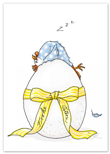 Krima & Isa Postkarte Huhn auf Ei