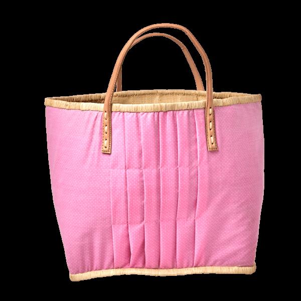 Rice Korb/Einkaufstasche, Punkte Pink mit Ledergriffen, large