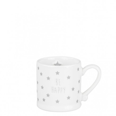 Bastion Collections Espressotasse White Be Happy & Stars in Grey