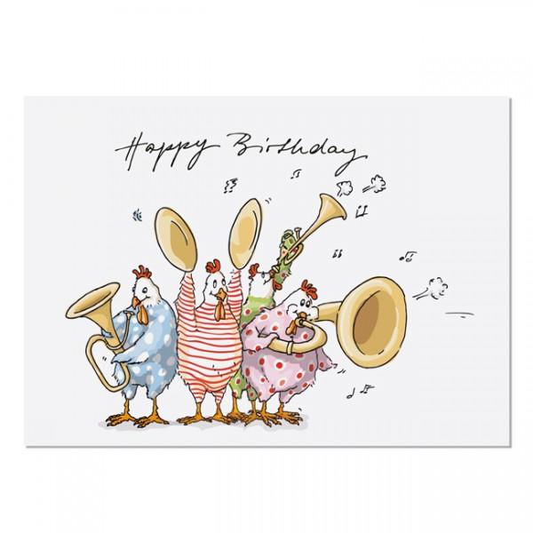 Krima & Isa Postkarte Happy Birthday Hühner