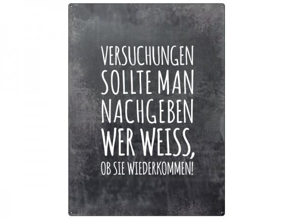 "Metallschild ""Versuchungen"""