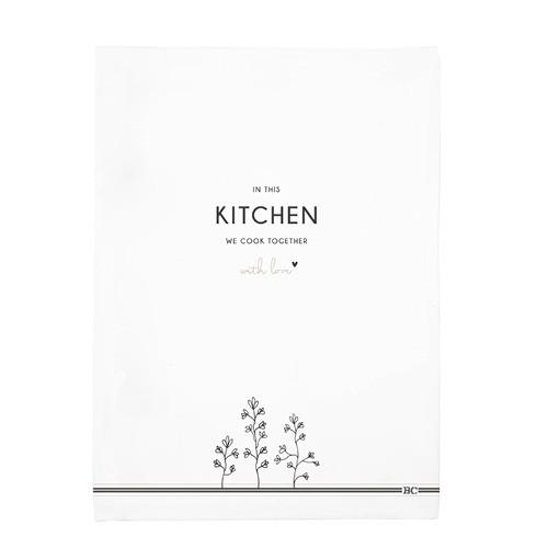 Bastion Collections Geschirrtuch Kitchen - we cook together, Weiß