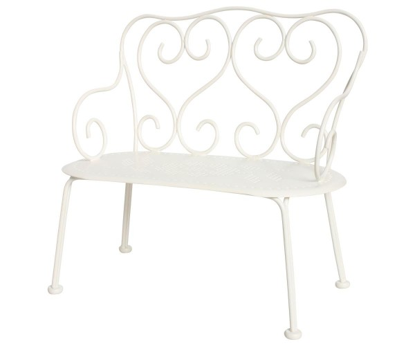 Maileg Bank Romantic Bench, Mini, Off White
