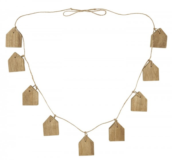 Ib Laursen Girlande mit 9 Holzhäuschen, natur