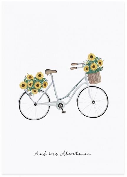 Eulenschnitt Postkarte Fahrrad