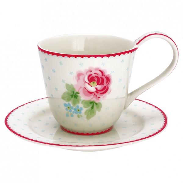 GreenGate Henkel-Tasse mit Unterteller Lily White