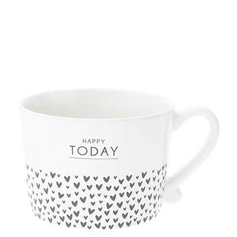 Bastion Collections Cup White / Happy today and hearts in Black